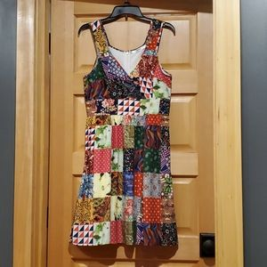 Patchwork pattern dress with pockets